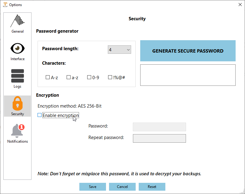 IvyBackup Job Settings Security