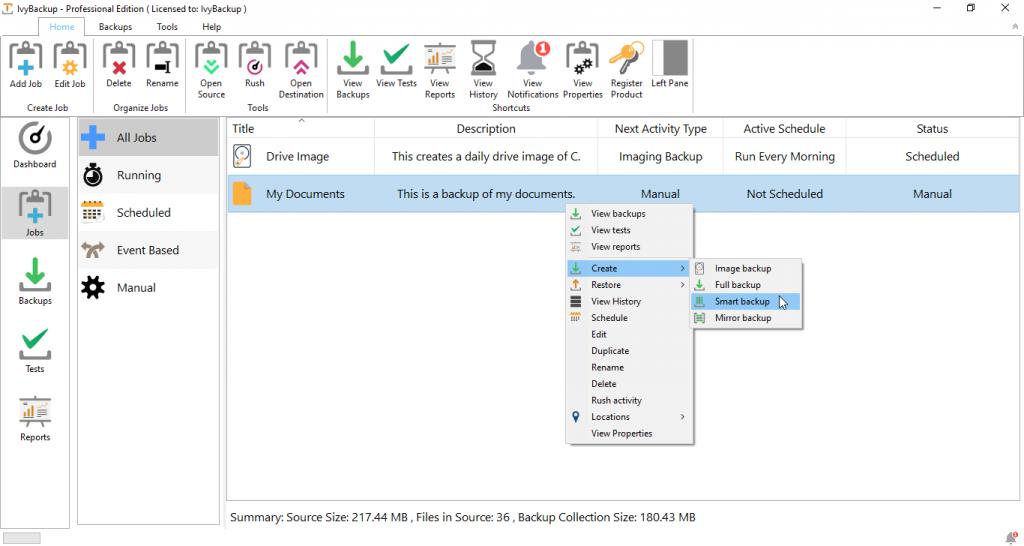 Create Smart Backup Screenshot