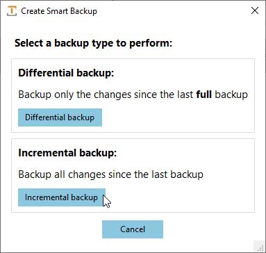User Interface Smart Backups Screenshot
