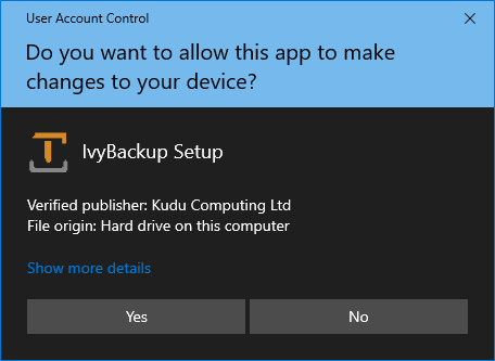 IvyBackup Secure Install Prompt